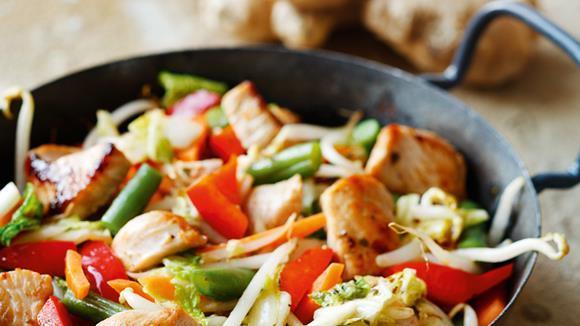 Wok-Gemüse mit Putenstreifen Rezept