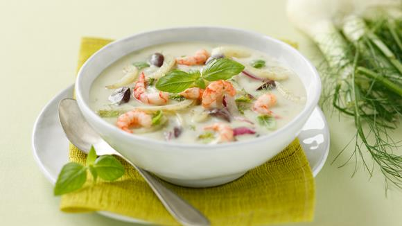 kartoffelsuppe mit shrimps fenchel und oliven rezept knorr. Black Bedroom Furniture Sets. Home Design Ideas