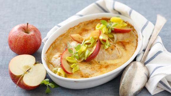 Hühnerschnitzel mit Zwiebel-Apfelrahmsauce Rezept