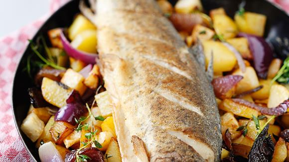Forelle mit Schmorgemüse aus dem Rohr