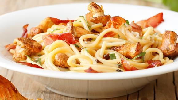 Spaghetti mit Rohschinken und Pilzen