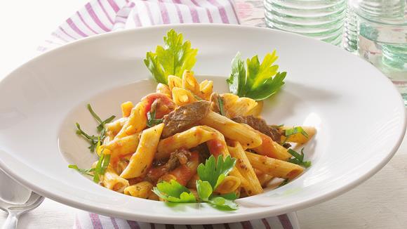 Penne Asciutta mit Rinderfilet und Karotten Rezept
