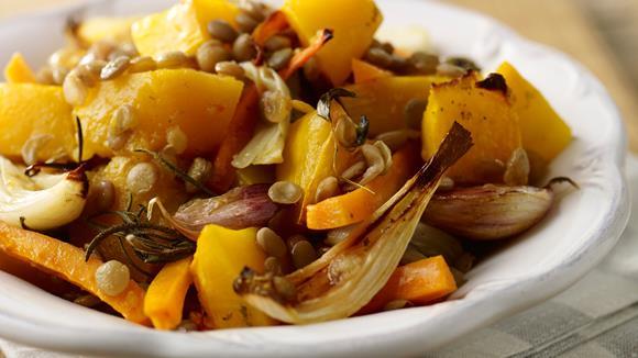 Geröstetes Herbstgemüse mit Linsen Rezept