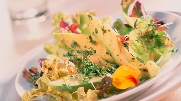 Eichblattsalat mit Avocado und Kresse
