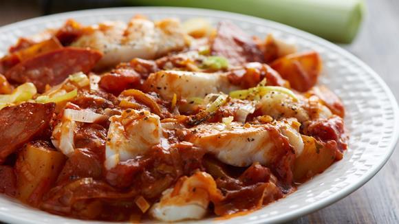 Fisch- und Chorizo-Schnelleintopf