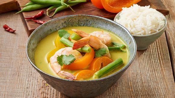 Thai Green Curry mit Garnelen