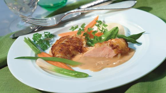 Hühnerschnitzel mit Pfeffer-Sauce, Lauch und Speck Rezept