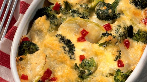 Überbackener Broccoli und Karfiol mit Putenschinken Rezept