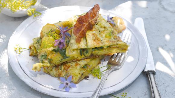 Kräuter-Gemüseomelette mit Käse