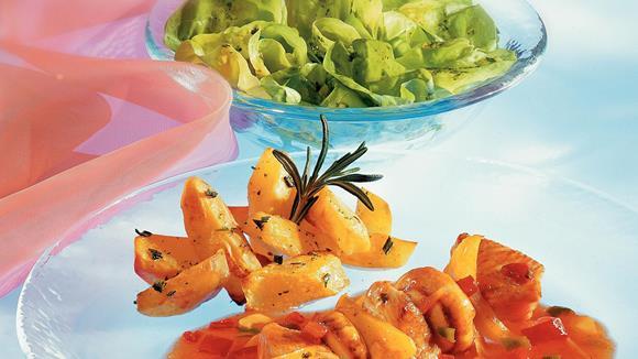 Feiner Putenspieß mit Champignons und gelbem Paprika Rezept