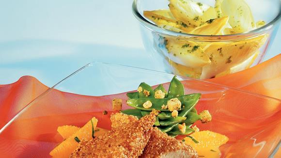 Hühnerfilet in Sesam mit Orangensauce