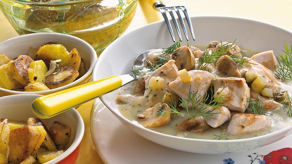 """Hühner-Ragout """"Rustica"""" mit Mais und Fisolen"""