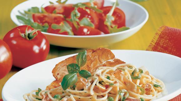 Spaghetti mit Rohschinken und Erbsen Rezept