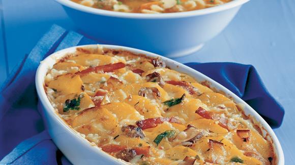 Kartoffelauflauf mit Selchfleisch und Pilzen Rezept