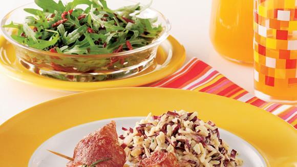 Hühnermedaillons mit Rosmarin, Salami und Pfeffer Sauce Rezept
