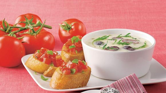 Parmesancreme Suppe mit Tomatenbruschetta Rezept