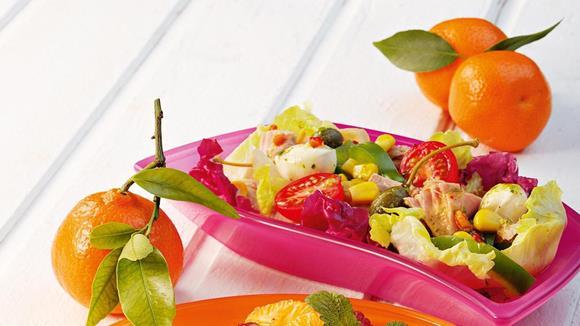 Bunter Salat Veneto mit Mais, Paprika und Thunfisch Rezept