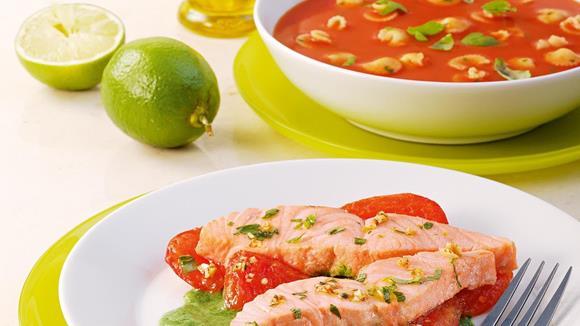 Gegrillter Limettenlachs nach Veroneser Art mit Tomaten und Spinat Rezept