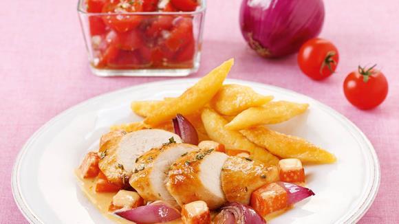 Hühnerbrust auf cremigem Kürbis Rezept