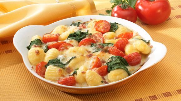 Gnocchi-Tomaten-Spinat-Gratin Rezept