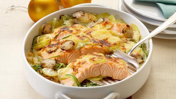 Lachsgratin mit Kartoffeln und Lauch Rezept