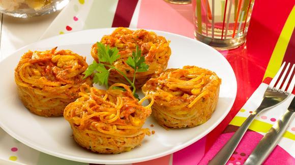 Seefahrer Muffins mit Spaghetti, Rüebli und Mais