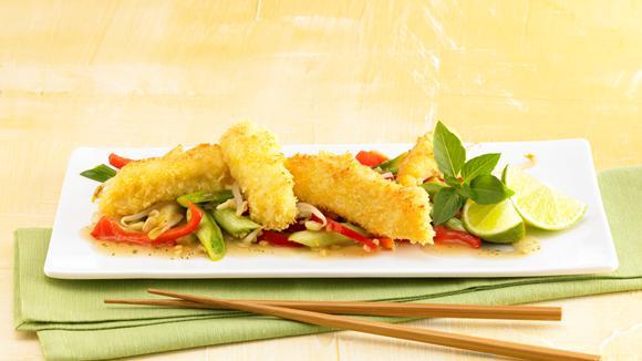 Asiatisches Gemüse mit Kokosfisch