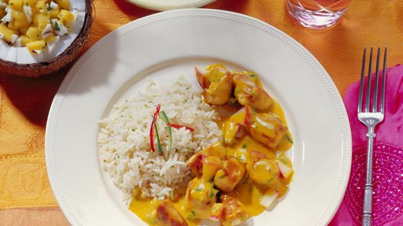 Curry Poulet Madras mit Reis