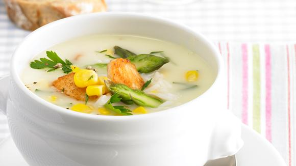 Cream of asparagus soup with chicken, rice and corn recipe