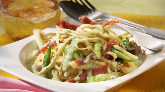 Pasta Parma mit Frühlingszwiebeln und Parmaschinken Rezept