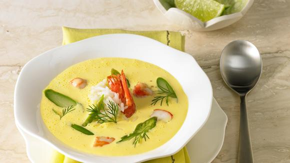 Asparagus saffron soup with fried king prawn recipe