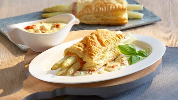 Asparagus with ham in puff pastry recipe