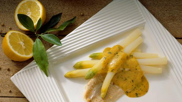 Asparagus on sole with herb hollandaise recipe