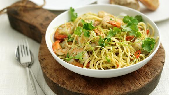 Spaghetti mit Riesencrevetten Rezept