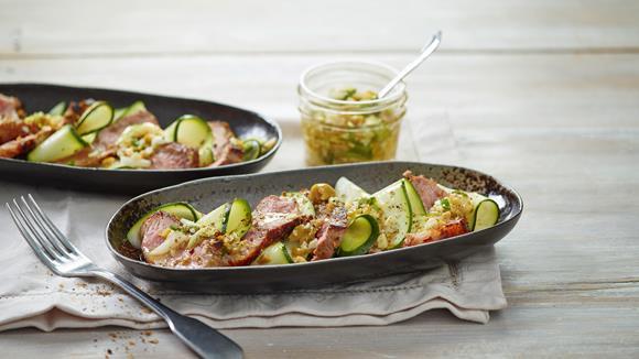 Tagliata mit Olivenstreusel Rezept