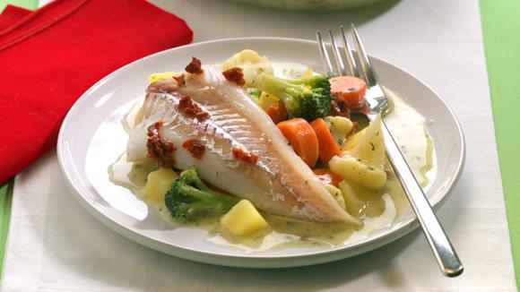 Dorsch-Kartoffel-Gratin mit Gemüse