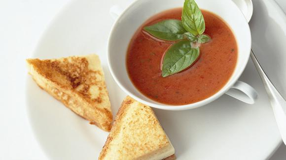 Tomato soup with cheese-ham-toast recipe