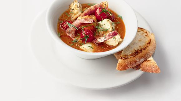 Mediterranean fish soup with scampi recipe