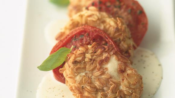 Gebackener Mozzarella im Haferflöcklimantel Rezept