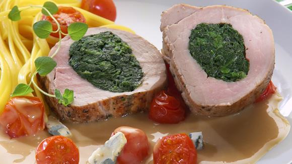 Gefülltes Schweinefilet in Gorgonzolasauce