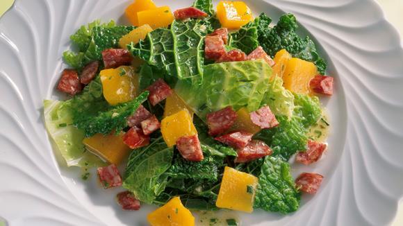 Wirsingsalat mit Landjäger