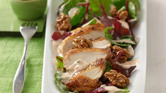Karamellisierter Hähnchen-Blattsalat