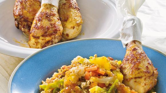 Djuvec-Dinkel-Reis mit Hähnchenkeulen