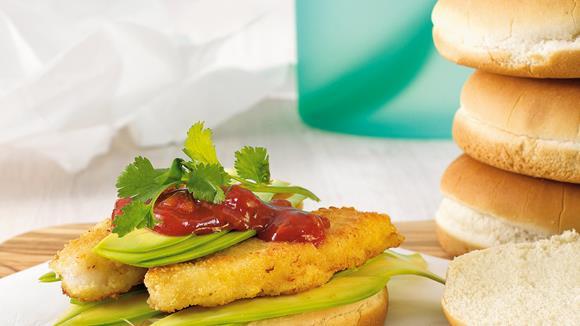 Fischstäbchen-Burger vom Lengfisch