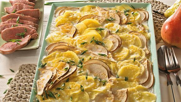 Entenbrust mit Kartoffel-Birnen-Gratin