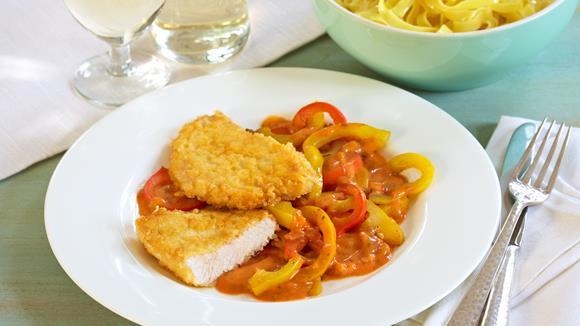 Piccata mit Tomaten-Paprika-Sauce