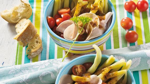 Wachsbohnensalat mit Mortadella