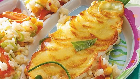 Fischfilet mit Kartoffel-Schuppen