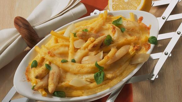Spargel-Makkaroni-Gratin mit Mozzarella