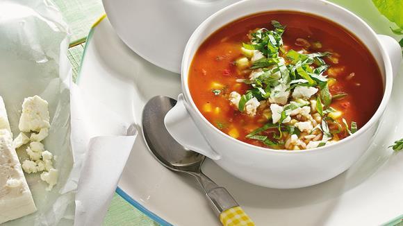 Tomatencremesuppe mit Reis und Balsamico